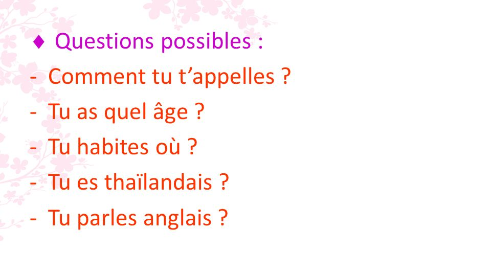 Questions possibles : -Comment tu tappelles . -Tu as quel âge .