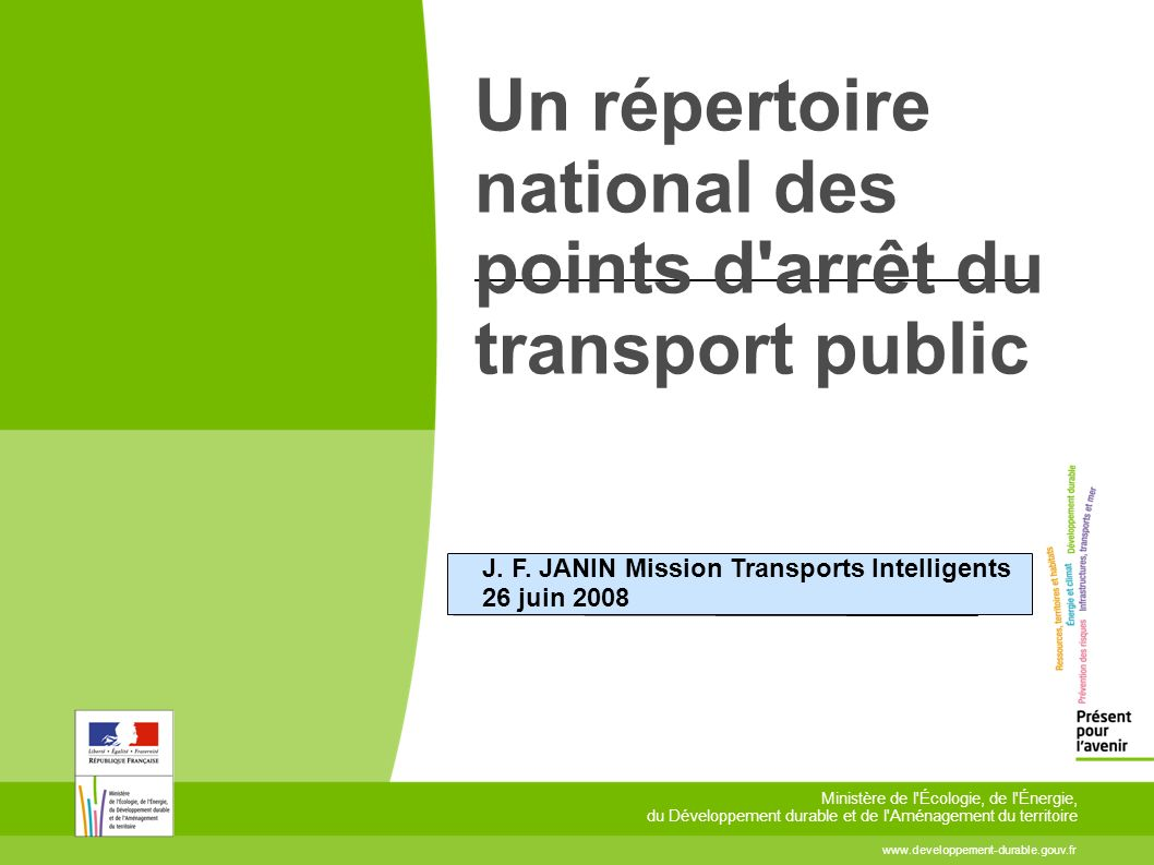 Un répertoire national des points d arrêt du transport public J.