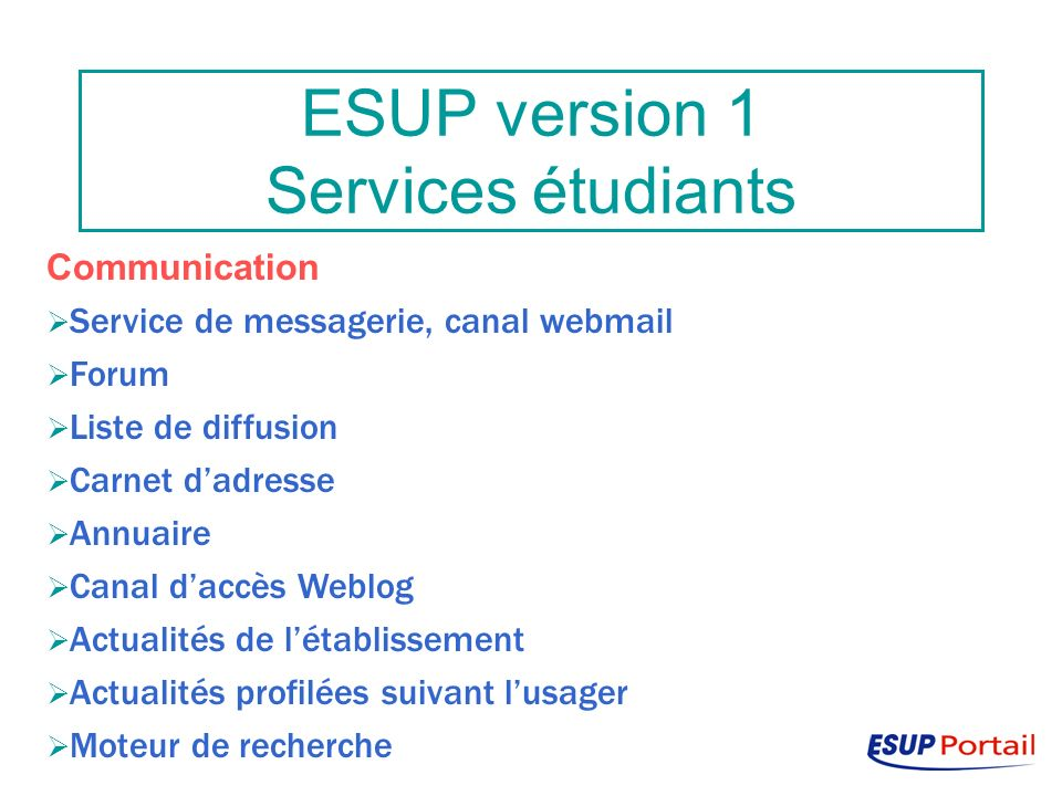 ESUP version 1 Services étudiants Communication Service de messagerie, canal webmail Forum Liste de diffusion Carnet dadresse Annuaire Canal daccès Weblog Actualités de létablissement Actualités profilées suivant lusager Moteur de recherche