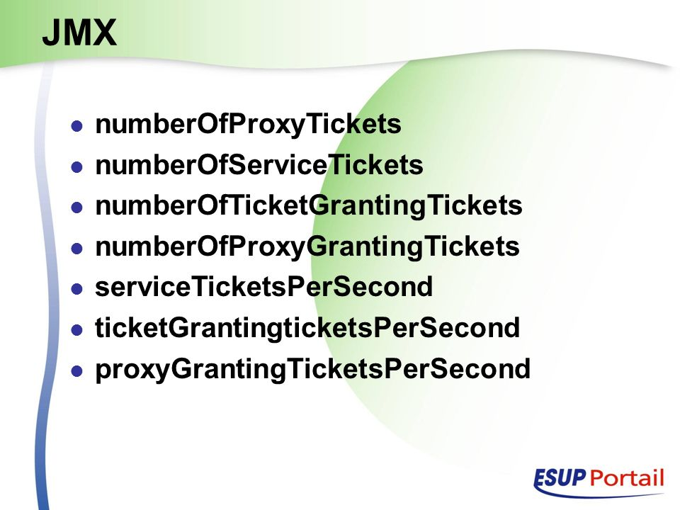 JMX numberOfProxyTickets numberOfServiceTickets numberOfTicketGrantingTickets numberOfProxyGrantingTickets serviceTicketsPerSecond ticketGrantingticketsPerSecond proxyGrantingTicketsPerSecond