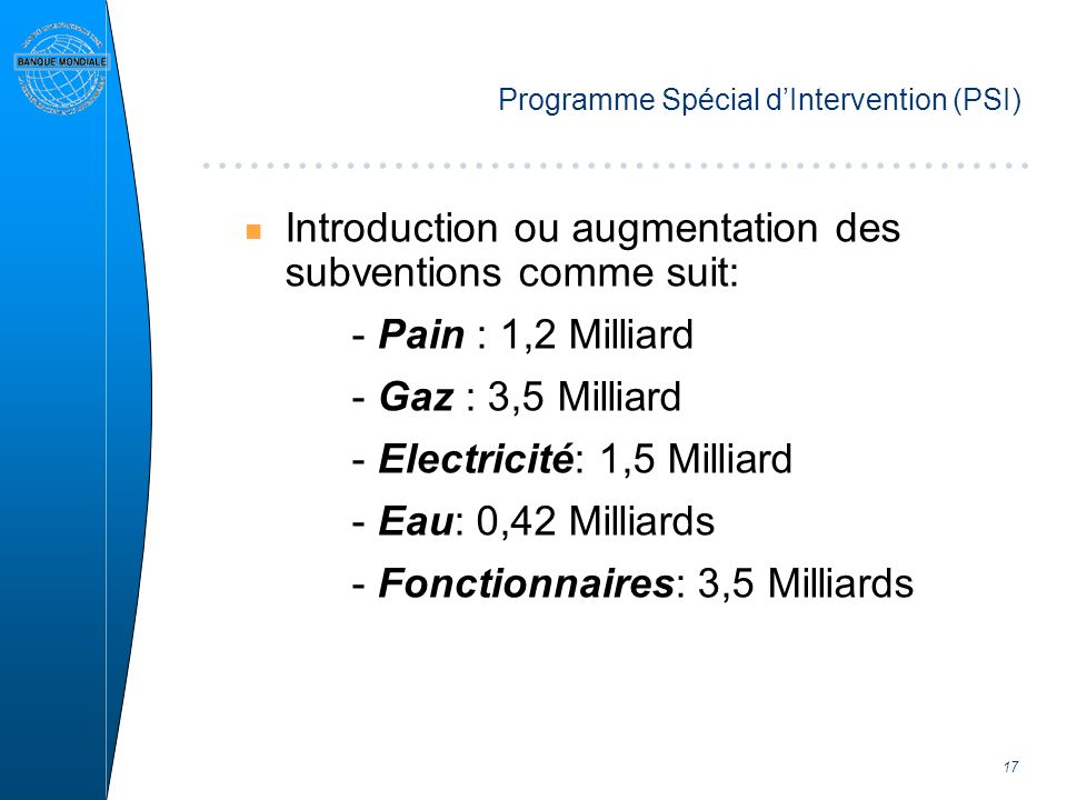 17 Programme Spécial dIntervention (PSI) n Introduction ou augmentation des subventions comme suit: - Pain : 1,2 Milliard - Gaz : 3,5 Milliard - Electricité: 1,5 Milliard - Eau: 0,42 Milliards - Fonctionnaires: 3,5 Milliards