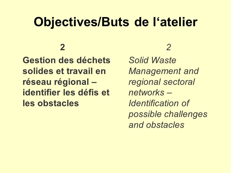 Objectives/Buts de latelier 2 Gestion des déchets solides et travail en réseau régional – identifier les défis et les obstacles 2 Solid Waste Management and regional sectoral networks – Identification of possible challenges and obstacles