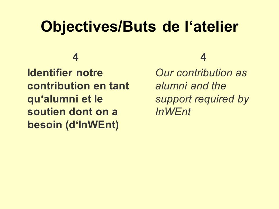 Objectives/Buts de latelier 4 Identifier notre contribution en tant qualumni et le soutien dont on a besoin (dInWEnt) 4 Our contribution as alumni and the support required by InWEnt