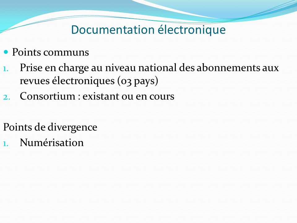 Documentation électronique Points communs 1.