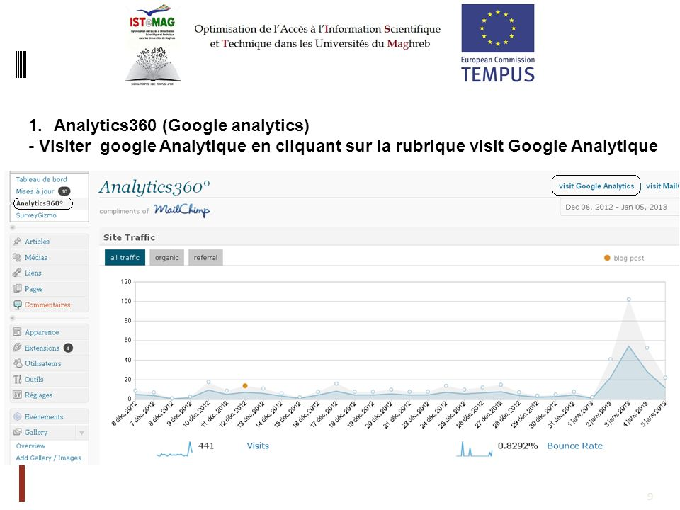 9 1.Analytics360 (Google analytics) - Visiter google Analytique en cliquant sur la rubrique visit Google Analytique