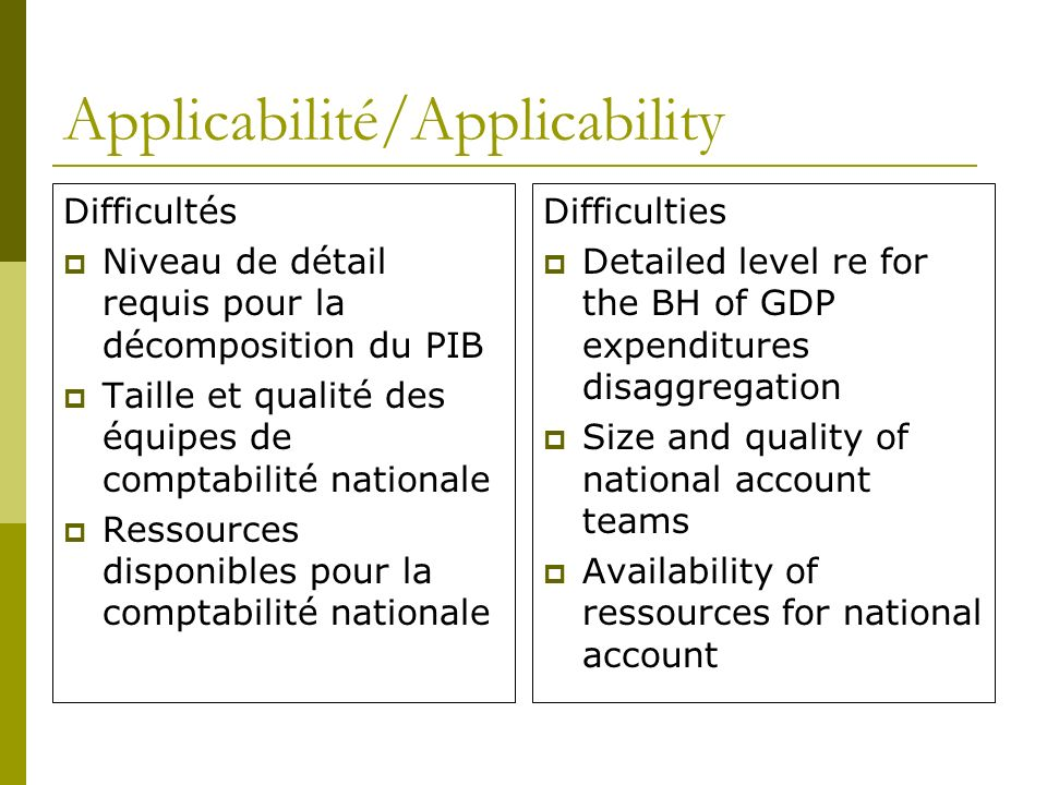 Applicabilité/Applicability Difficultés Niveau de détail requis pour la décomposition du PIB Taille et qualité des équipes de comptabilité nationale Ressources disponibles pour la comptabilité nationale Difficulties Detailed level re for the BH of GDP expenditures disaggregation Size and quality of national account teams Availability of ressources for national account