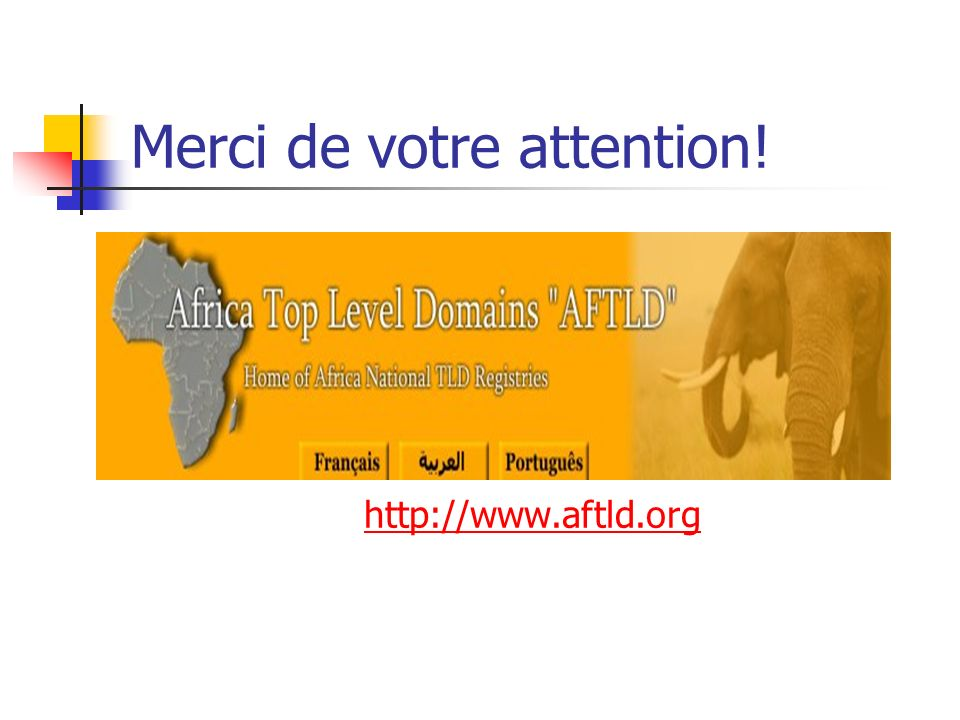 Merci de votre attention! http://www.aftld.org
