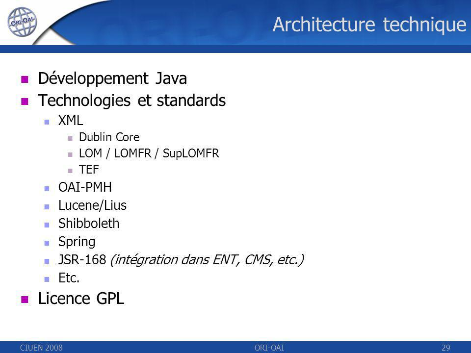 CIUEN 2008ORI-OAI29 Architecture technique Développement Java Technologies et standards XML Dublin Core LOM / LOMFR / SupLOMFR TEF OAI-PMH Lucene/Lius Shibboleth Spring JSR-168 (intégration dans ENT, CMS, etc.) Etc.