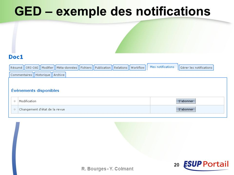 R. Bourges - Y. Colmant 20 GED – exemple des notifications