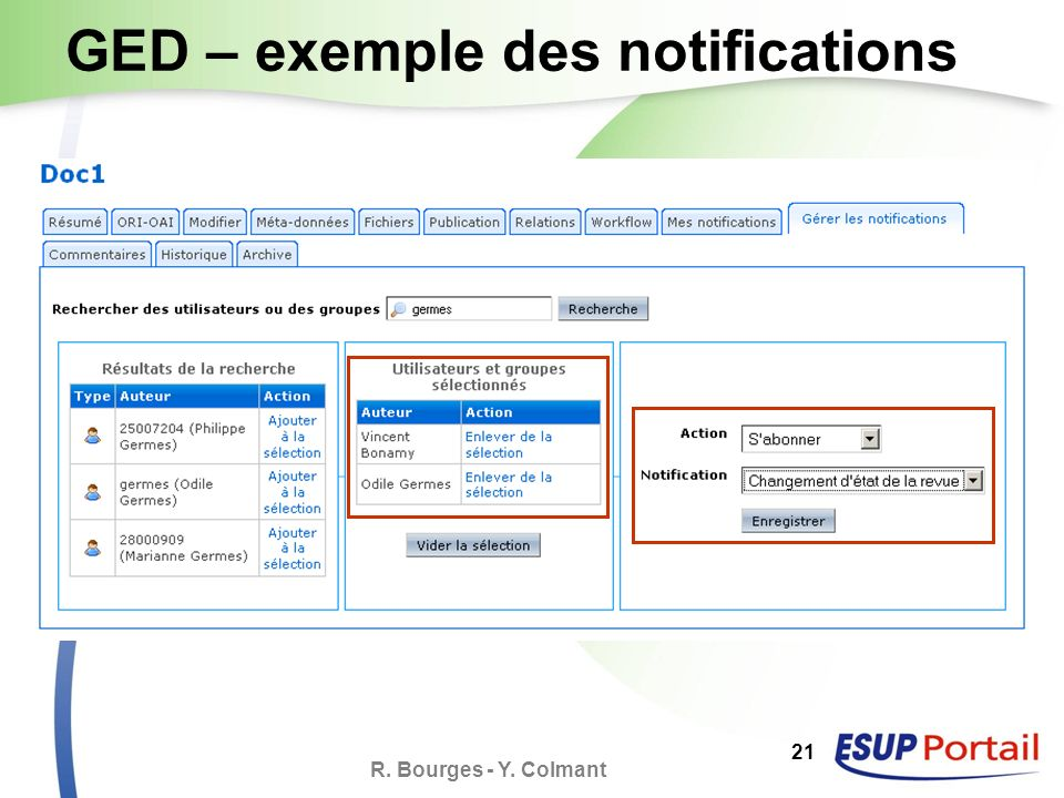 R. Bourges - Y. Colmant 21 GED – exemple des notifications