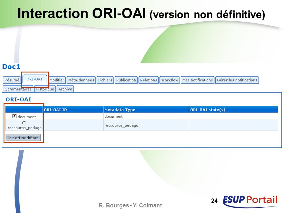 R. Bourges - Y. Colmant 24 Interaction ORI-OAI (version non définitive)