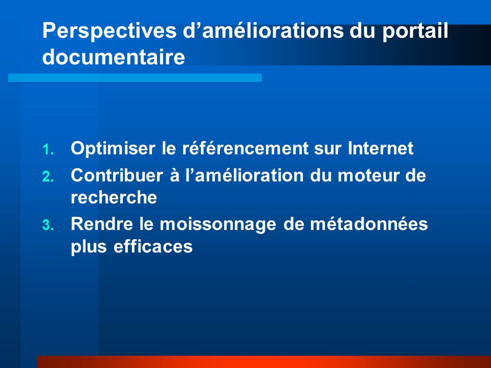 Perspectives daméliorations du portail documentaire 1.