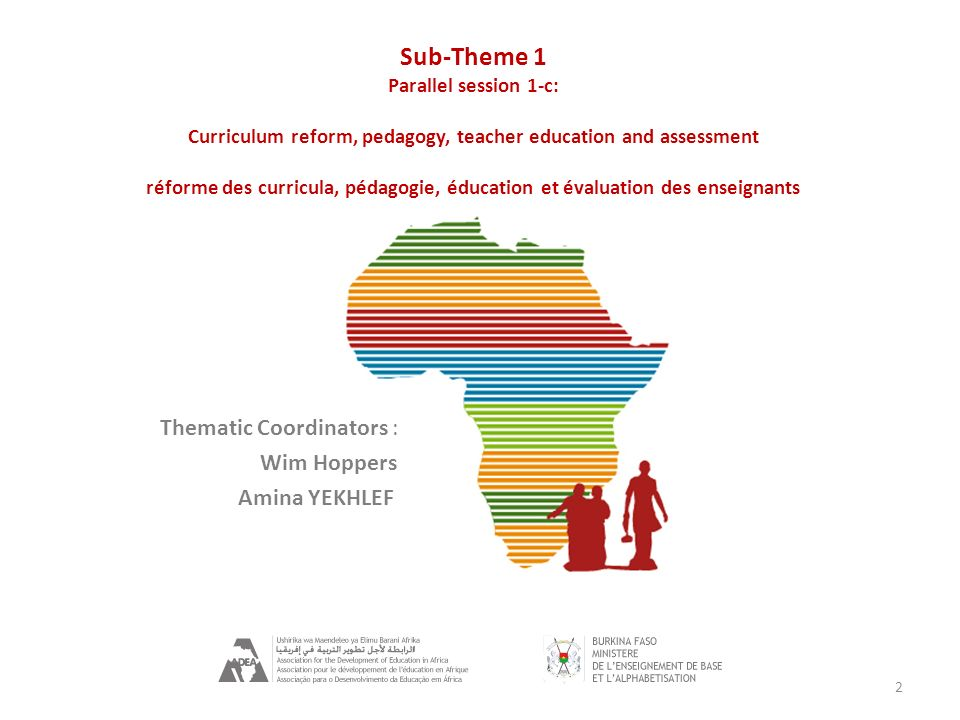 2 Thematic Coordinators : Wim Hoppers Amina YEKHLEF Sub-Theme 1 Parallel session 1-c: Curriculum reform, pedagogy, teacher education and assessment réforme des curricula, pédagogie, éducation et évaluation des enseignants
