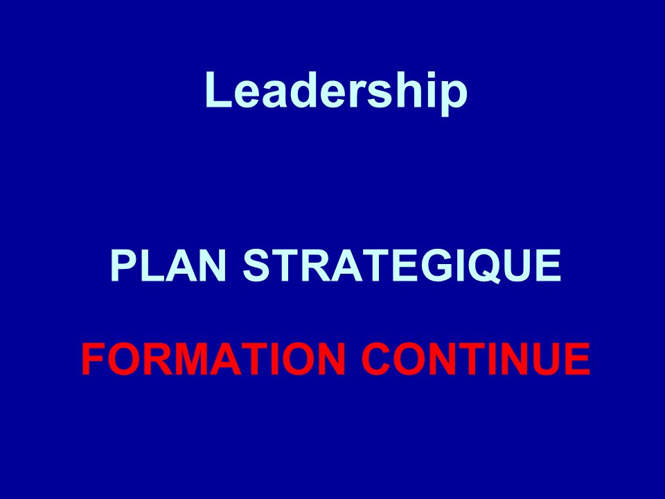 Leadership PLAN STRATEGIQUE FORMATION CONTINUE
