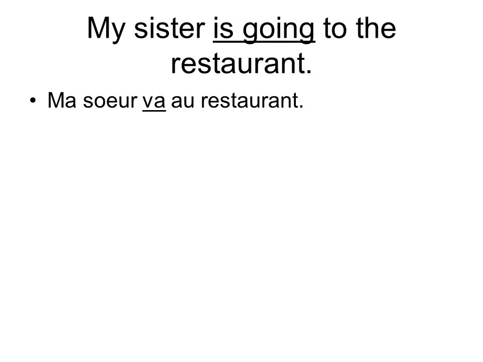 My sister is going to the restaurant. Ma soeur va au restaurant.