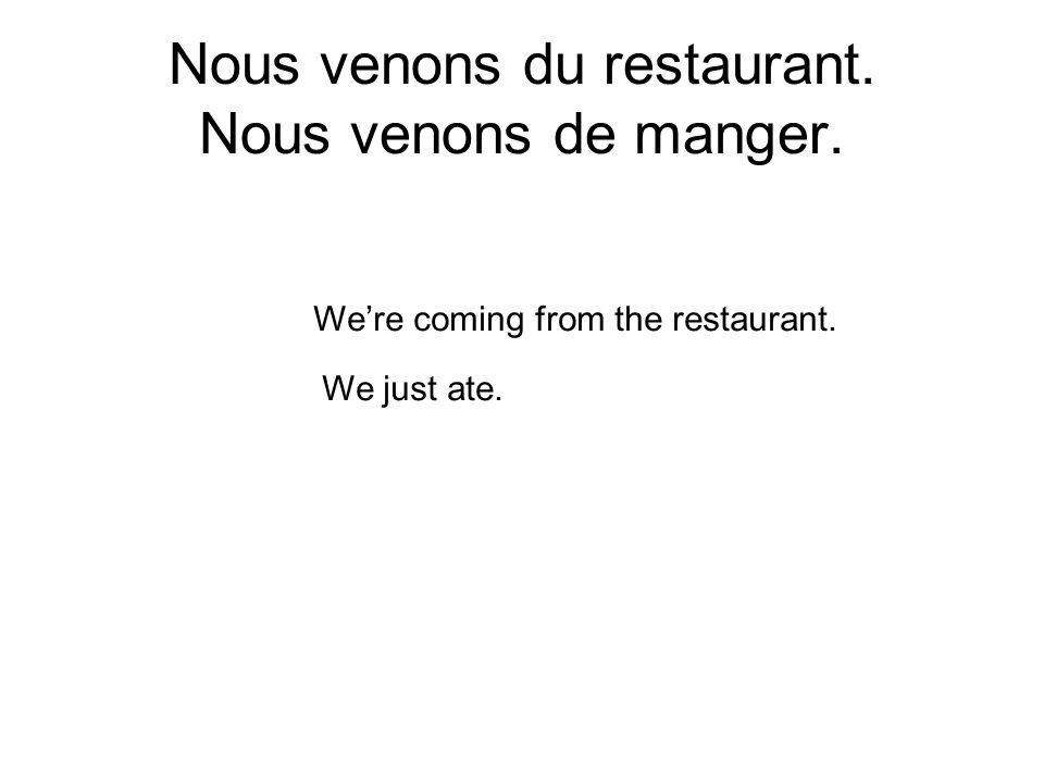 Nous venons du restaurant. Nous venons de manger. Were coming from the restaurant. We just ate.