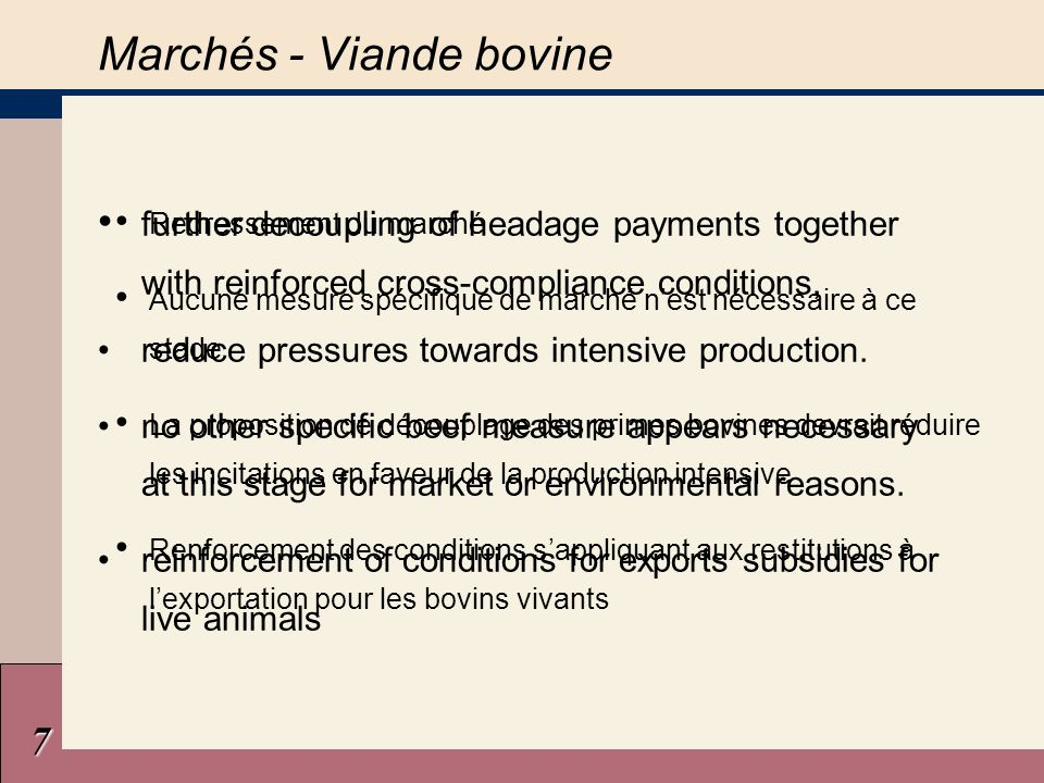 7 Marchés - Viande bovine further decoupling of headage payments together with reinforced cross-compliance conditions, reduce pressures towards intensive production.