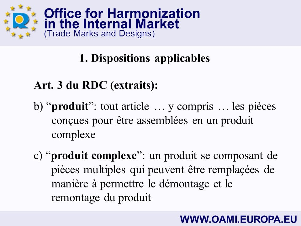 Office for Harmonization in the Internal Market (Trade Marks and Designs)   1.