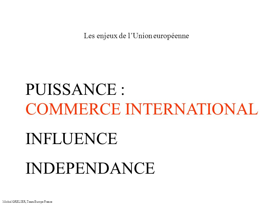 Les enjeux de lUnion européenne Michel GRELIER, Team Europe France PUISSANCE : COMMERCE INTERNATIONAL INFLUENCE INDEPENDANCE