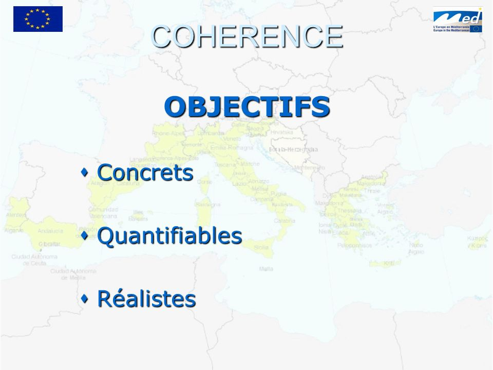 COHERENCE OBJECTIFS Concrets Concrets Quantifiables Quantifiables Réalistes Réalistes