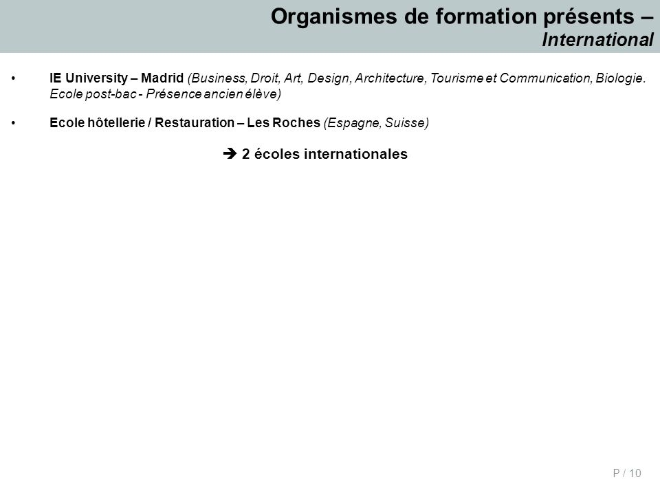 P / 10 Organismes de formation présents – International IE University – Madrid (Business, Droit, Art, Design, Architecture, Tourisme et Communication, Biologie.