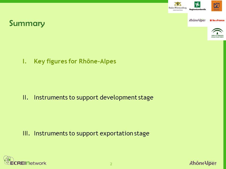 2 Summary I.Key figures for Rhône-Alpes II.Instruments to support development stage III.Instruments to support exportation stage