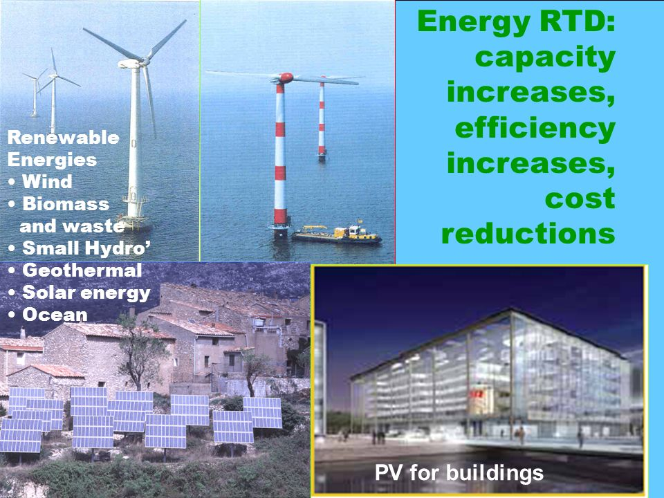 Commission Européenne - Direction Générale de lÉnergie et des Transports Mariàngels Pérez Latorre 16 PV for buildings Renewable Energies Wind Biomass and waste Small Hydro Geothermal Solar energy Ocean Energy RTD: capacity increases, efficiency increases, cost reductions