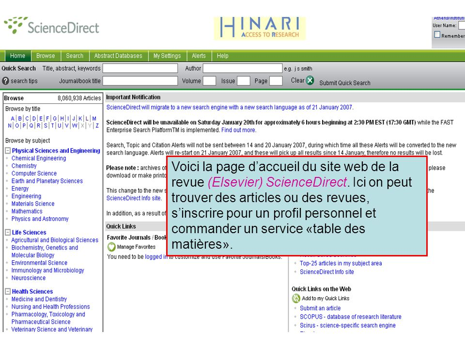 ScienceDirect 3 Voici la page daccueil du site web de la revue (Elsevier) ScienceDirect.