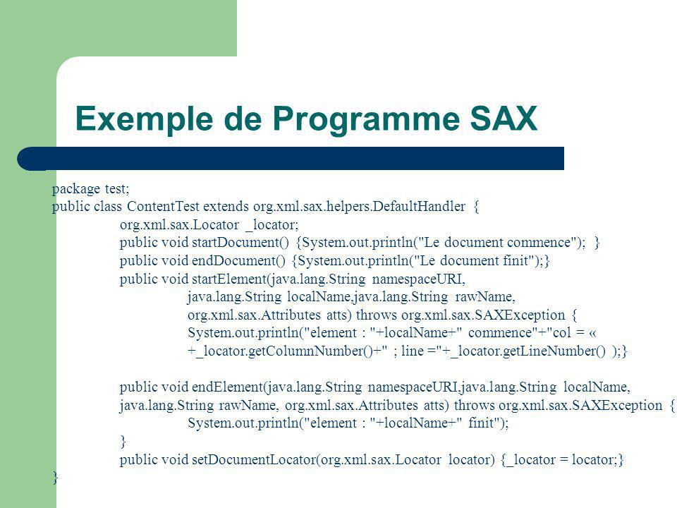 Exemple de Programme SAX package test; public class ContentTest extends org.xml.sax.helpers.DefaultHandler { org.xml.sax.Locator _locator; public void startDocument() {System.out.println( Le document commence );} public void endDocument() {System.out.println( Le document finit );} public void startElement(java.lang.String namespaceURI, java.lang.String localName,java.lang.String rawName, org.xml.sax.Attributes atts) throws org.xml.sax.SAXException { System.out.println( element : +localName+ commence + col = « +_locator.getColumnNumber()+ ; line = +_locator.getLineNumber() );} public void endElement(java.lang.String namespaceURI,java.lang.String localName, java.lang.String rawName, org.xml.sax.Attributes atts) throws org.xml.sax.SAXException { System.out.println( element : +localName+ finit ); } public void setDocumentLocator(org.xml.sax.Locator locator) {_locator = locator;} }