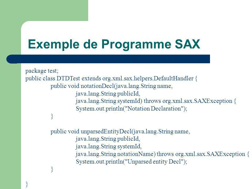 Exemple de Programme SAX package test; public class DTDTest extends org.xml.sax.helpers.DefaultHandler { public void notationDecl(java.lang.String name, java.lang.String publicId, java.lang.String systemId) throws org.xml.sax.SAXException { System.out.println( Notation Declaration ); } public void unparsedEntityDecl(java.lang.String name, java.lang.String publicId, java.lang.String systemId, java.lang.String notationName) throws org.xml.sax.SAXException { System.out.println( Unparsed entity Decl ); }