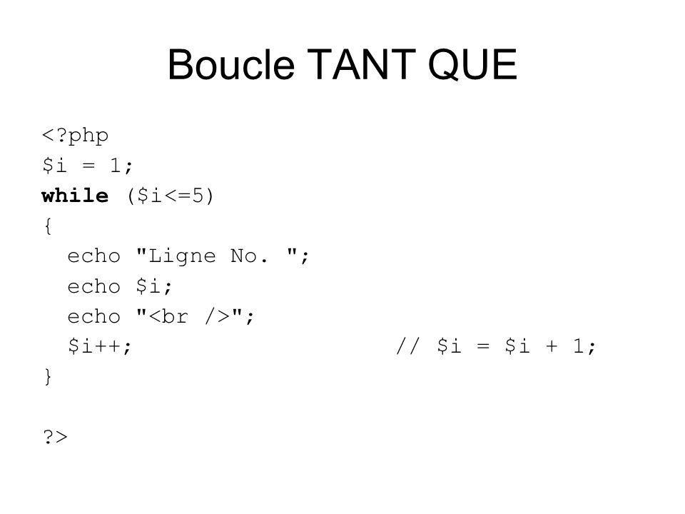 Boucle TANT QUE < php $i = 1; while ($i<=5) { echo Ligne No.
