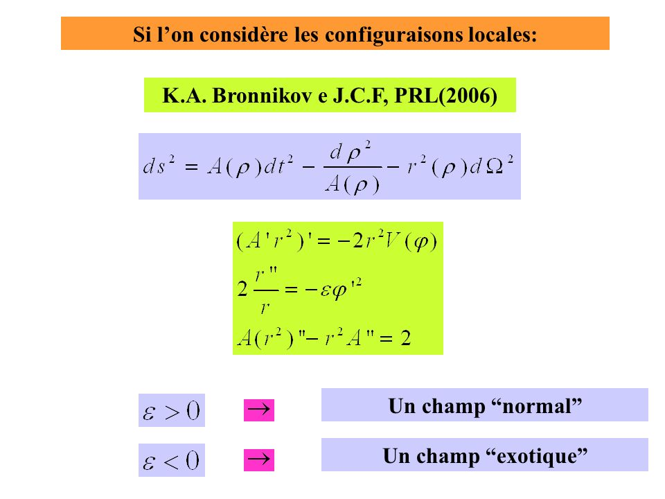 Si lon considère les configuraisons locales: Un champ exotique Un champ normal K.A.
