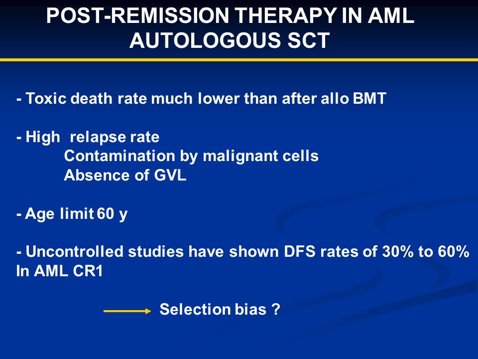 POST-REMISSION THERAPY IN AML AUTOLOGOUS SCT - Toxic death rate much lower than after allo BMT - High relapse rate Contamination by malignant cells Absence of GVL - Age limit 60 y - Uncontrolled studies have shown DFS rates of 30% to 60% In AML CR1 Selection bias
