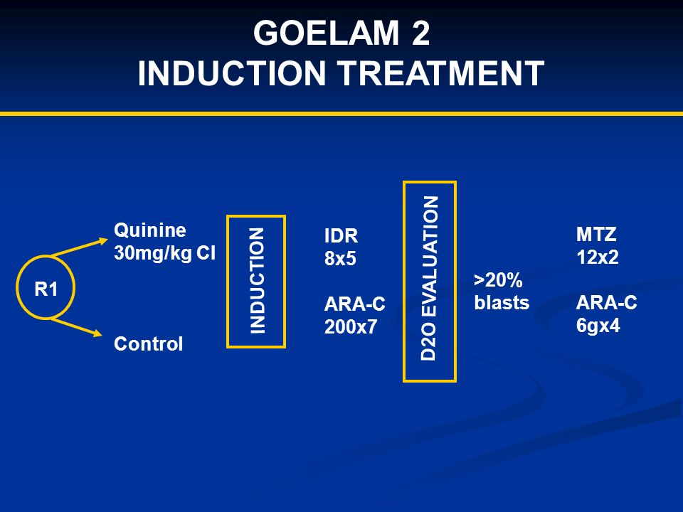 GOELAM 2 INDUCTION TREATMENT R1 Quinine 30mg/kg CI Control INDUCTION IDR 8x5 ARA-C 200x7 D2O EVALUATION >20% blasts MTZ 12x2 ARA-C 6gx4