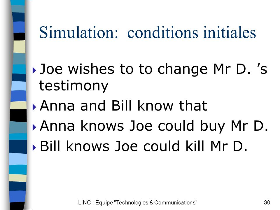 LINC - Equipe Technologies & Communications 30 Simulation: conditions initiales Joe wishes to to change Mr D.