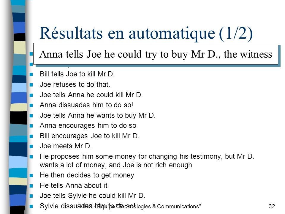 LINC - Equipe Technologies & Communications 32 Résultats en automatique (1/2) Anna tells Joe he could try to buy Mr D., the witness Joe accepts Bill tells Joe to kill Mr D.