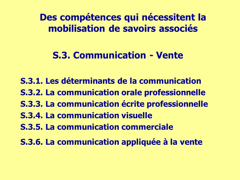 S.3. Communication - Vente S.3.1. Les déterminants de la communication S.3.2.