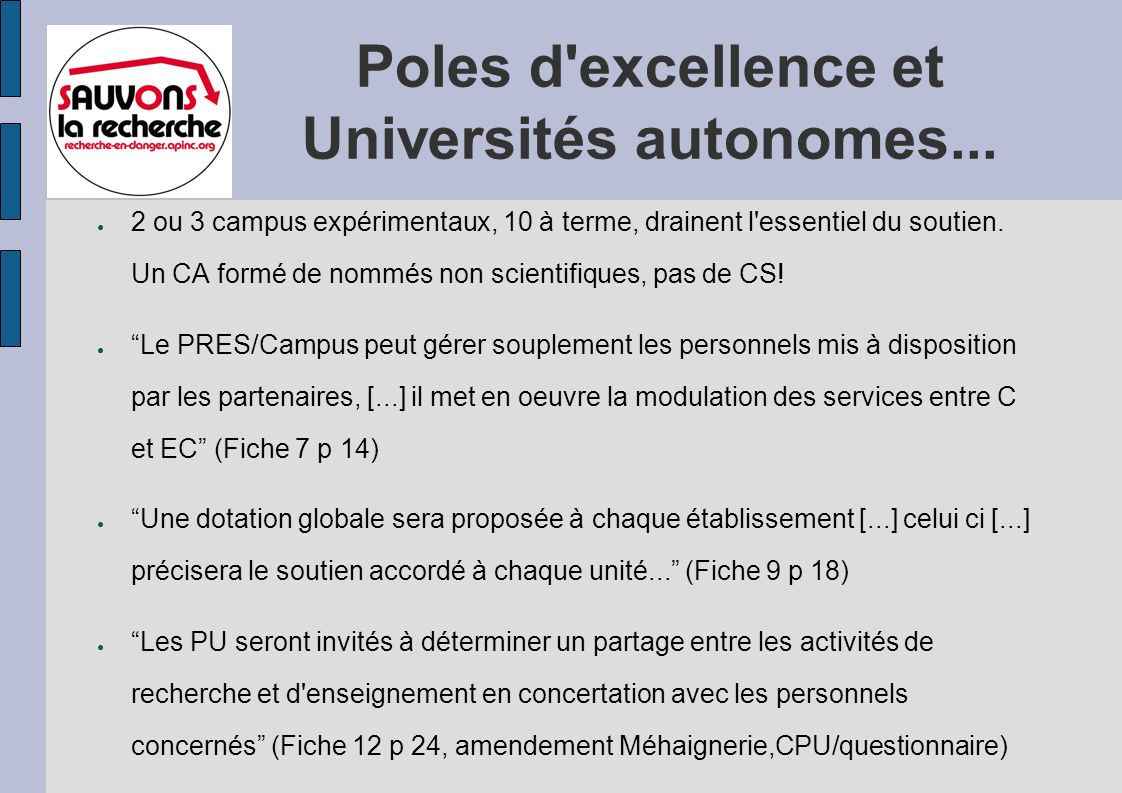Poles d excellence et Universités autonomes...