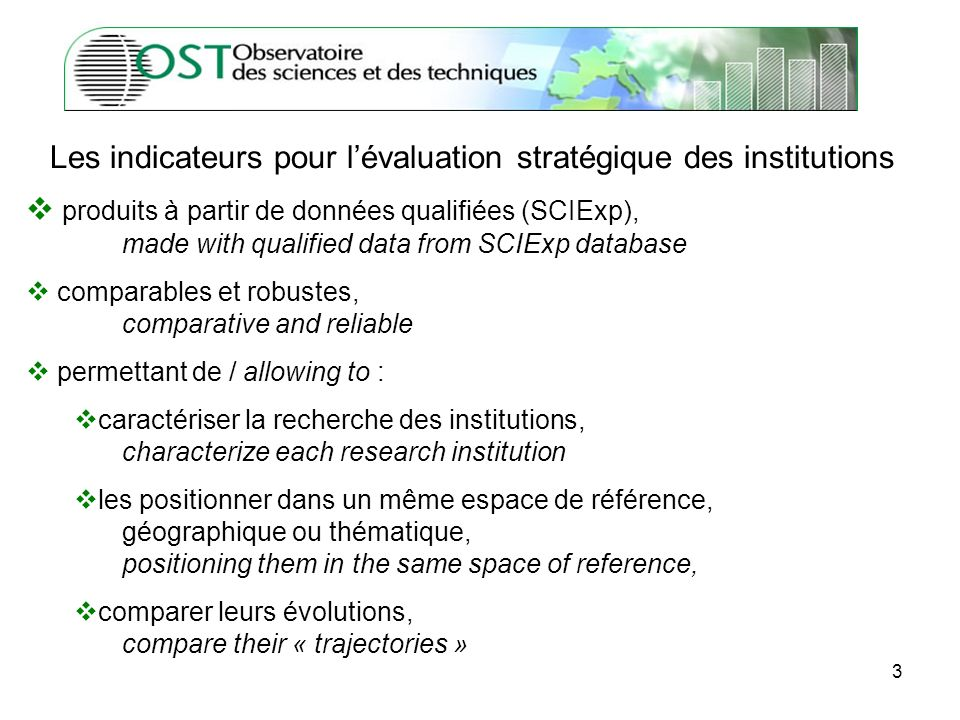 3 produits à partir de données qualifiées (SCIExp), made with qualified data from SCIExp database comparables et robustes, comparative and reliable permettant de / allowing to : caractériser la recherche des institutions, characterize each research institution les positionner dans un même espace de référence, géographique ou thématique, positioning them in the same space of reference, comparer leurs évolutions, compare their « trajectories » Les indicateurs pour lévaluation stratégique des institutions