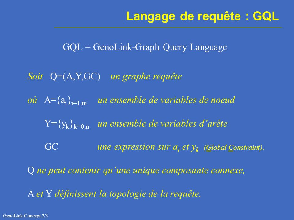 Langage de requête : GQL GQL = GenoLink-Graph Query Language Soit Q=(A,Y,GC) un graphe requête où A={a i } i=1,m un ensemble de variables de noeud Y={y k } k=0,n un ensemble de variables darête GC une expression sur a i et y k (Global Constraint).