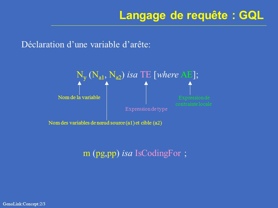Langage de requête : GQL Déclaration dune variable darête: N y (N a1, N a2 ) isa TE [where AE]; Nom de la variable Expression de type m (pg,pp) isa IsCodingFor ; Nom des variables de nœud source (a1) et cible (a2) GenoLink:Concept:2/3 Expression de contrainte locale