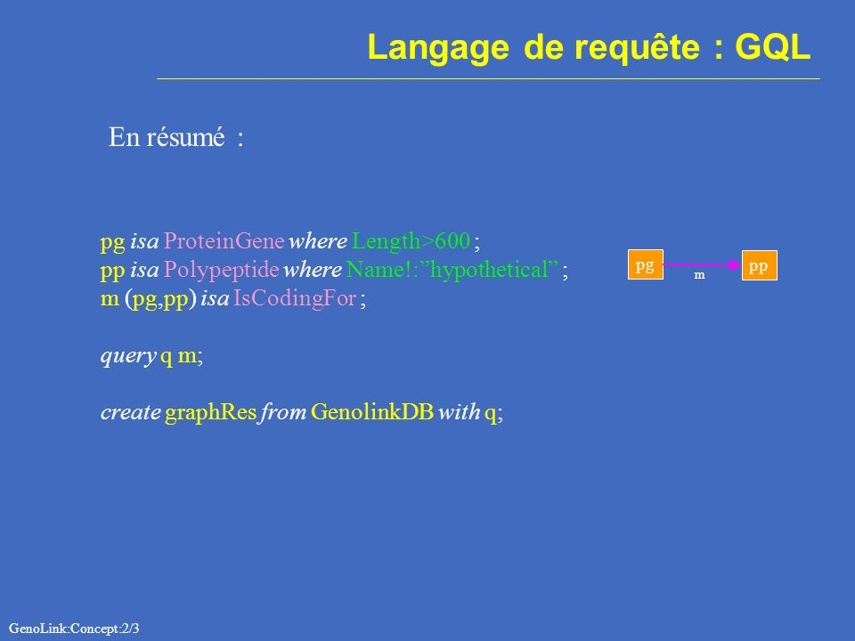 Langage de requête : GQL En résumé : pg isa ProteinGene where Length>600 ; pp isa Polypeptide where Name!:hypothetical ; m (pg,pp) isa IsCodingFor ; query q m; create graphRes from GenolinkDB with q; pg pp m GenoLink:Concept:2/3