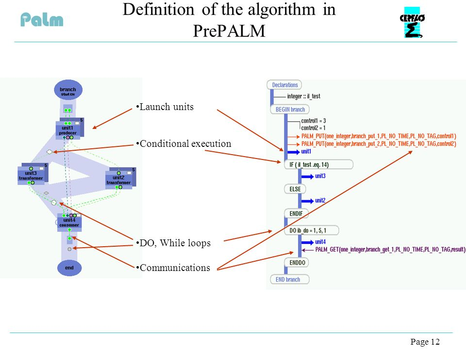 Page 12 Definition of the algorithm in PrePALM Launch units Conditional execution DO, While loops Communications