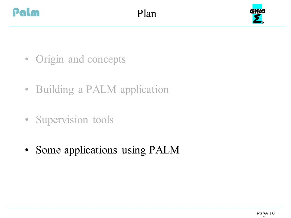 Page 19 Plan Origin and concepts Building a PALM application Supervision tools Some applications using PALM
