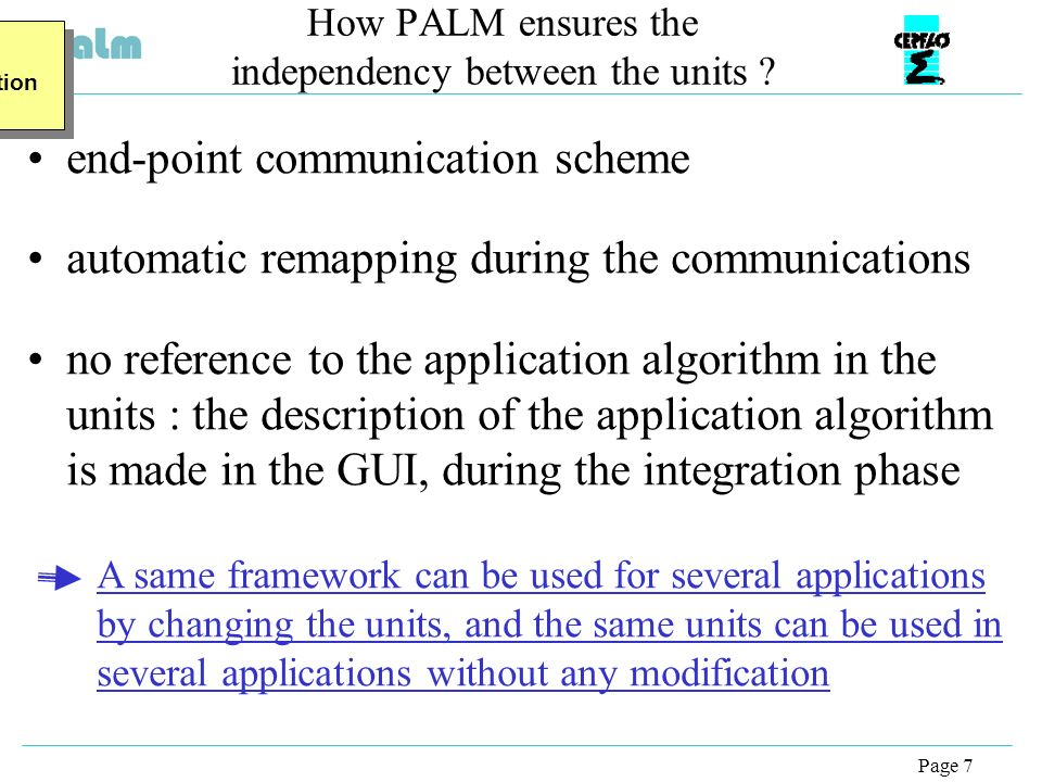 Page 7 How PALM ensures the independency between the units .