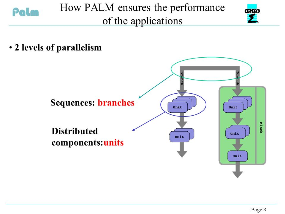 Page 8 How PALM ensures the performance of the applications 2 levels of parallelism Sequences: branches Distributed components:units