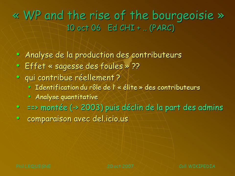 « WP and the rise of the bourgeoisie » 10 oct 06 Ed CHI +..