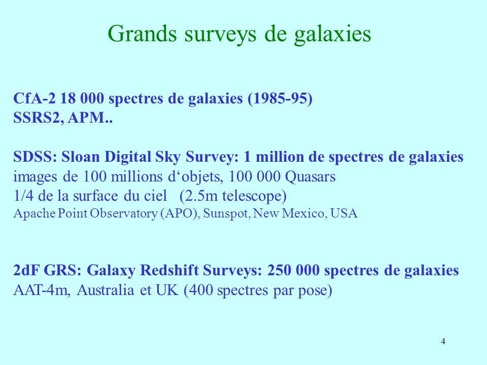4 Grands surveys de galaxies CfA-2 18 000 spectres de galaxies (1985-95) SSRS2, APM..