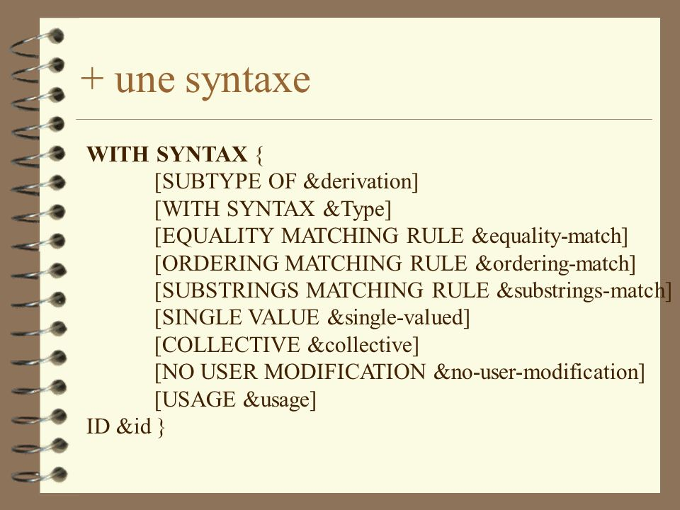 + une syntaxe WITH SYNTAX { [SUBTYPE OF &derivation] [WITH SYNTAX &Type] [EQUALITY MATCHING RULE &equality-match] [ORDERING MATCHING RULE &ordering-match] [SUBSTRINGS MATCHING RULE &substrings-match] [SINGLE VALUE &single-valued] [COLLECTIVE &collective] [NO USER MODIFICATION &no-user-modification] [USAGE &usage] ID &id }