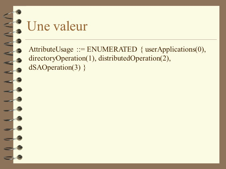 Une valeur AttributeUsage ::= ENUMERATED { userApplications(0), directoryOperation(1), distributedOperation(2), dSAOperation(3) }
